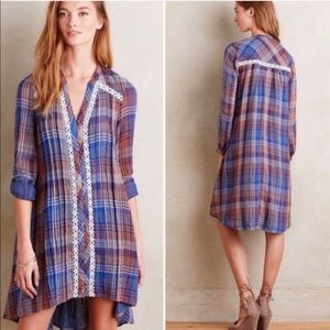 Anthro Holding Horses Abita High Low Plaid Dress
